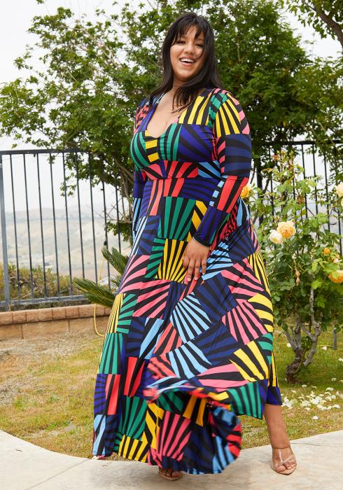 Asoph Plus Size Multi Color Flare Maxi Dress
