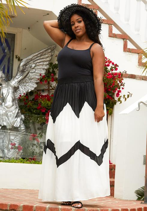 Asoph Plus Size Micro Pleated Maxi Skirt