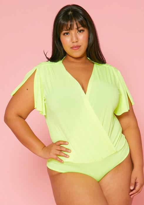 Asoph Plus Size Wrap Neon Bodysuit