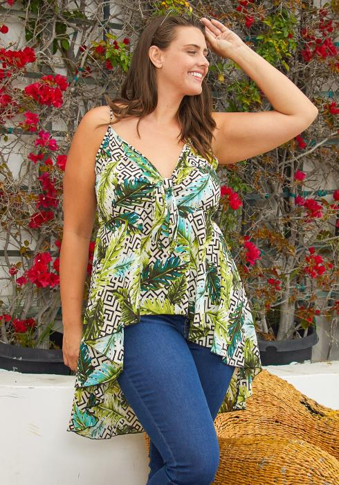 Asoph Plus Size Multi Print Peplum Top