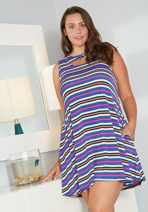 Asoph Plus Size Multi Color Stripe Mini Dress