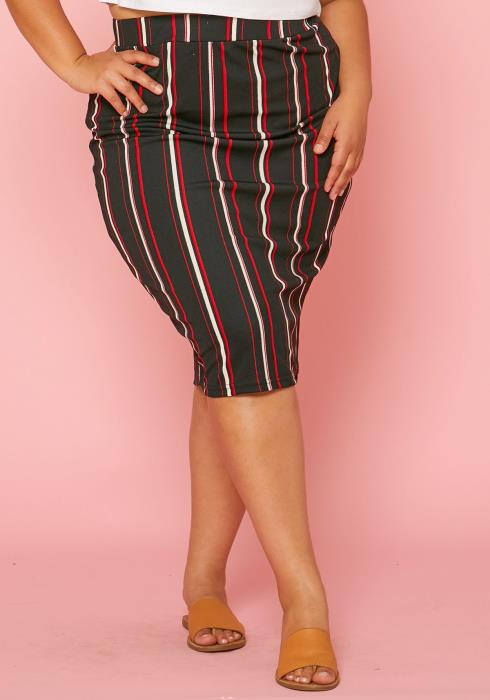 Asoph Plus Size Stripe Fitted Midi Skirt
