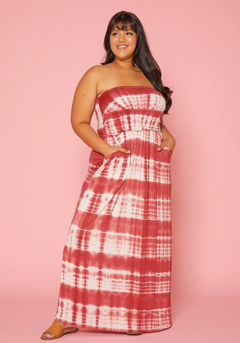 Asoph Plus Size Strapless Tie Dye Maxi Dress
