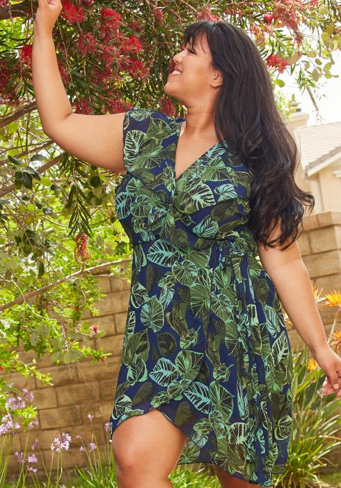 Asoph Plus Size Floral Print Chiffon Mini Wrap Dress