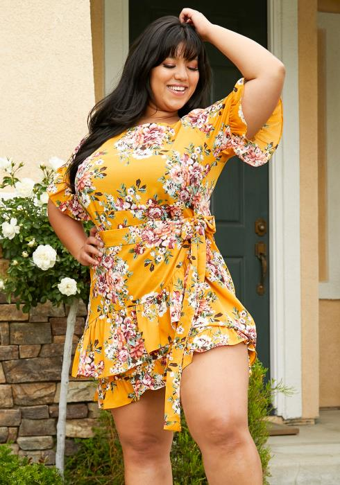 Asoph Plus Size Floral Wrap Mini Dress