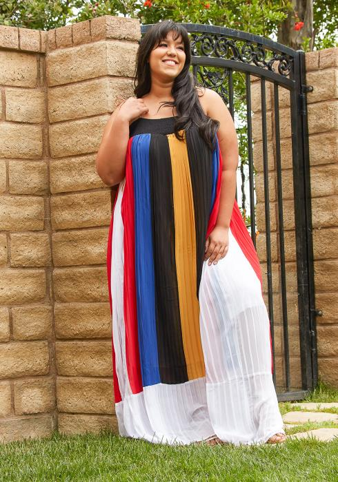 Asoph Plus Size Micro Pleated Maxi Tunic Dress