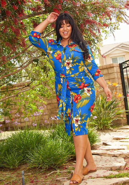 Asoph Plus Size Multi Print Button Up Midi Dress