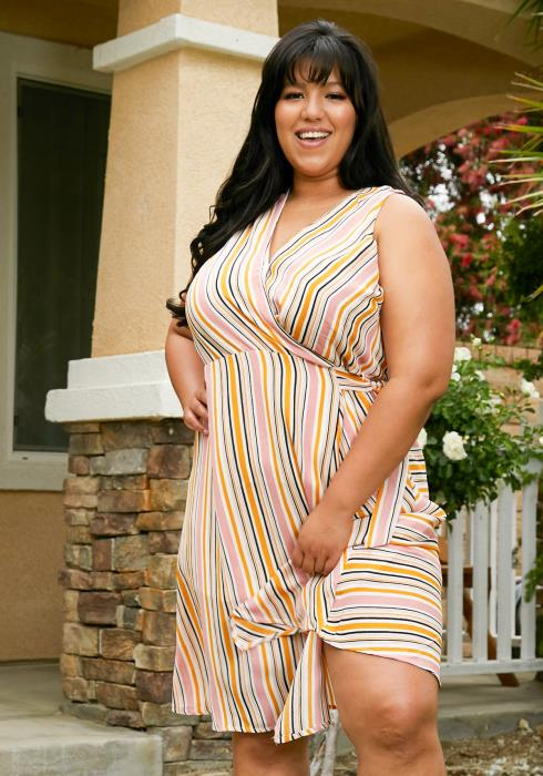 Asoph Plus Size Stripe Midi Dress