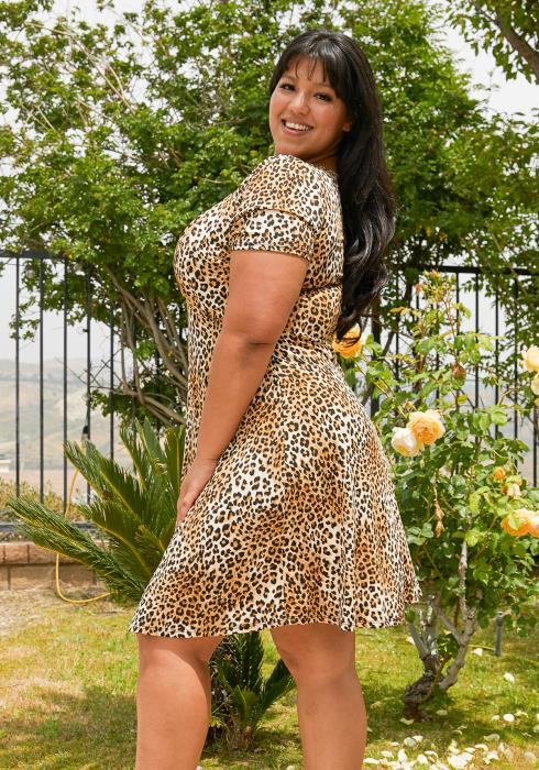 Asoph Plus Size Leopard Print Mini Flare Dress