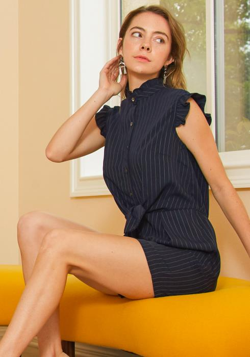 Tansy Pinstripe Button Up Romper
