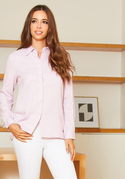 Tansy Womens Pink Lavender Linen Collar Blouse