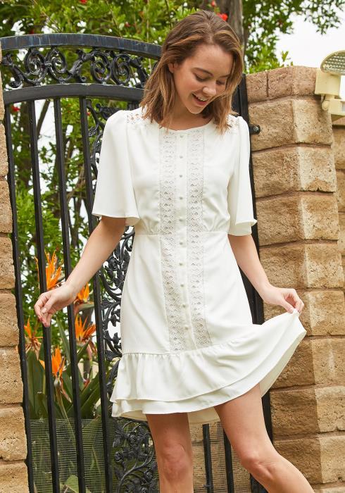Tansy Button Up Lace Mini Dress