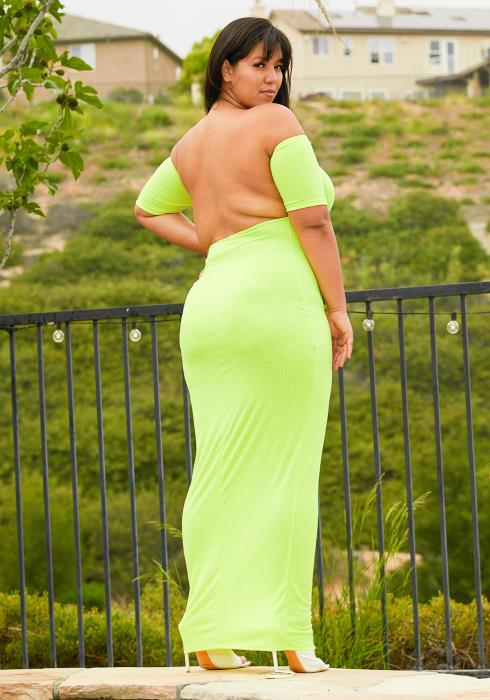 Asoph Plus Size Open Back Ribbed Maxi Dress