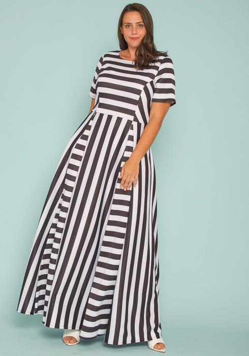 Asoph Plus Size Stripe Flare Maxi Dress
