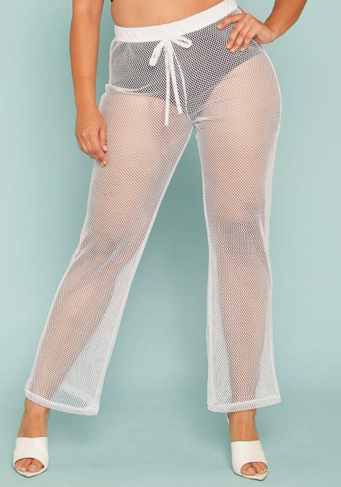 Asoph Plus Size Sheer Mesh Pants