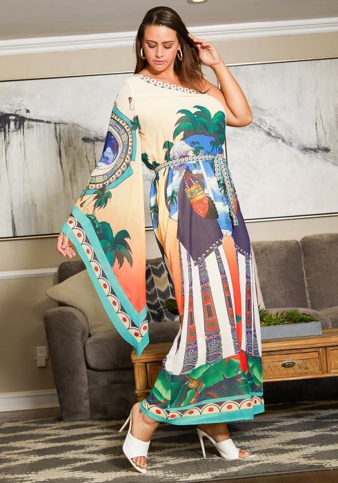 Asoph Plus Size Multi Print One Shoulder Chiffon Maxi Dress