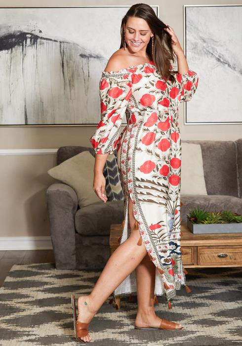 Asoph Plus Size Belted Floral Print Tunic Dress