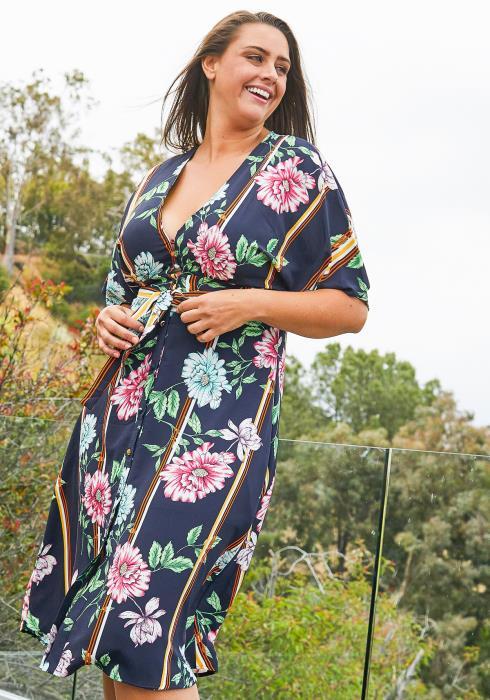 Asoph Plus Size Floral Print Button Up Midi Dress