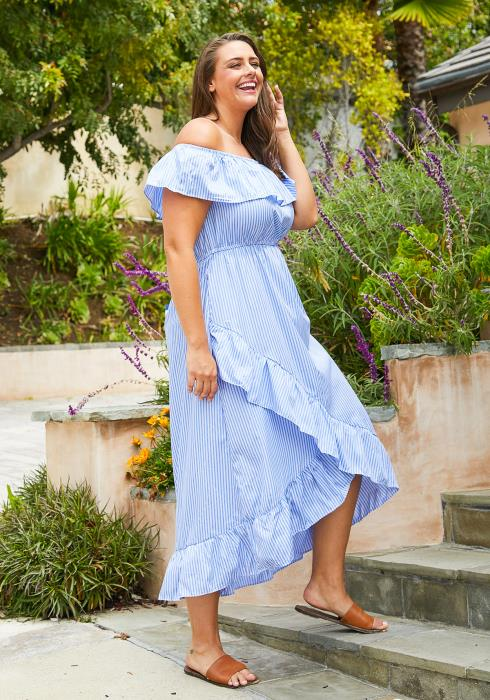 Asoph Plus Size Off Shoulder Stripe Midi Dress