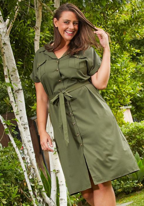 Asoph Plus Size Button Up Shirt Dress