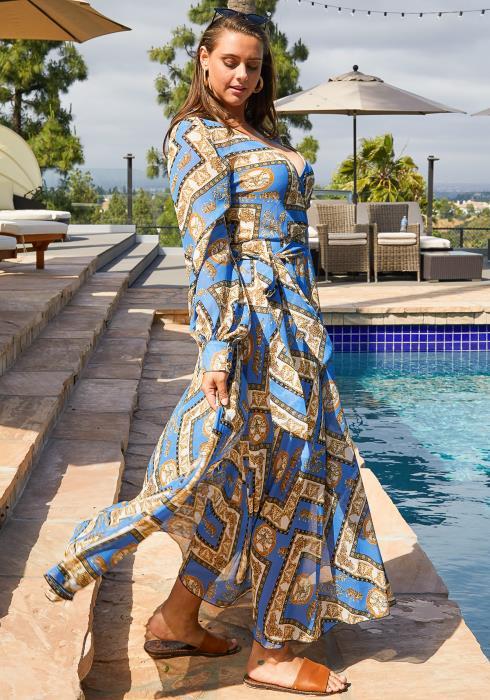 Asoph Plus Size Baroque Print Chiffon Flare Maxi Dress