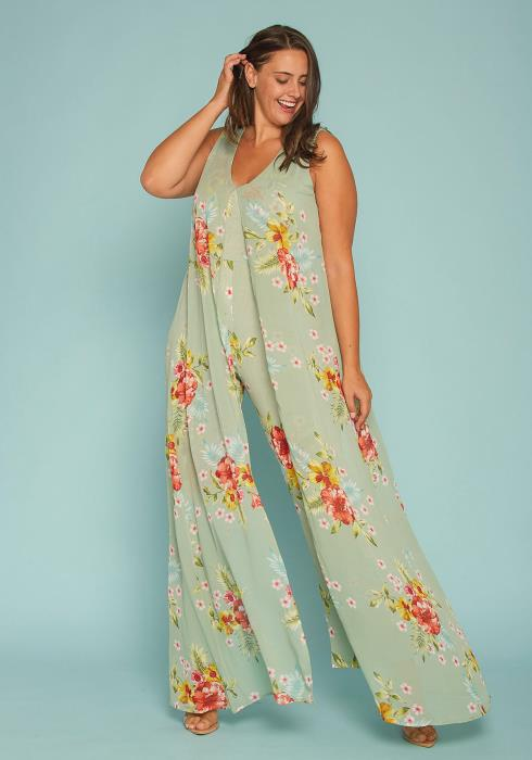 Asoph Plus Size Floral Caped Jumpsuit