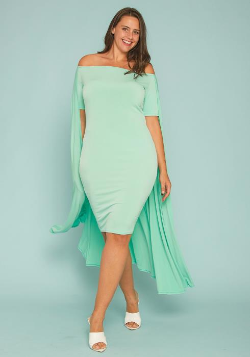 Asoph Plus Size Caped Bodycon Mini Dress