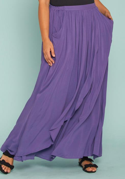 Asoph Plus Size Flare Wrap Maxi Skirt