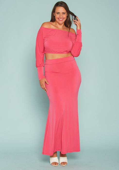 Asoph Plus Size Off Shoulder Crop Top & Maxi Skirt Set
