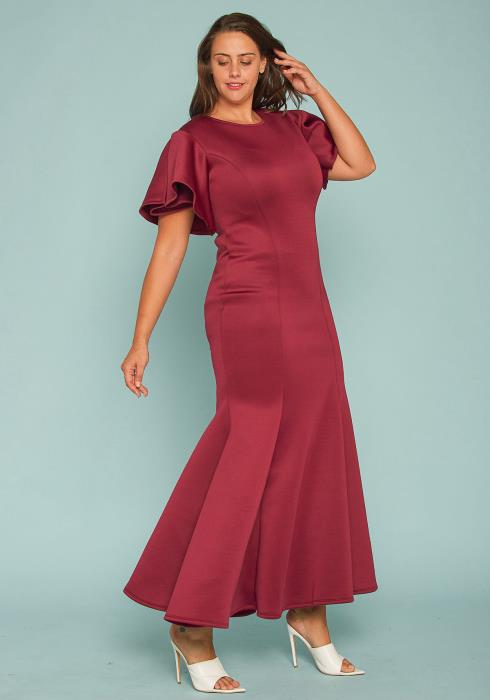 Asoph Plus Size Flutter Sleeve Evening Gown