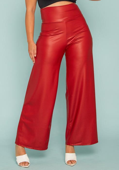 Asoph Plus Size High Waist Leather Pants