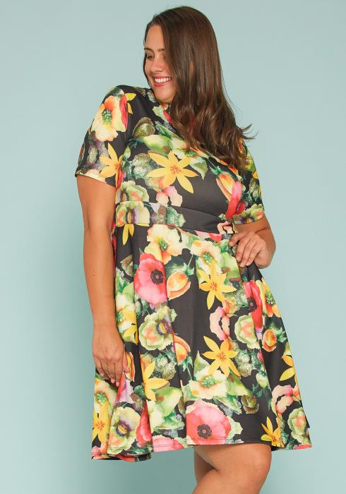 Asoph Plus Size Floral Flare Dress