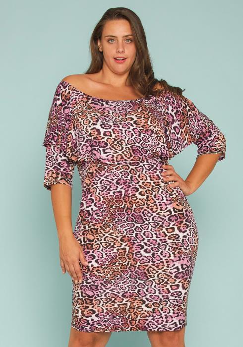 Asoph Plus Size Leopard Print Off Shoulder Bodycon Dress