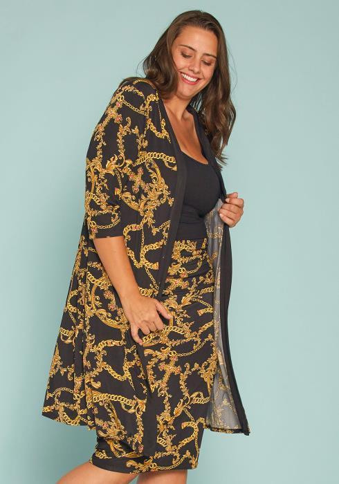 Asoph Plus Size Chain Print Cardigan & Skirt Set
