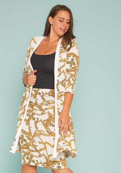 Asoph Plus Size Chain Print Cardigan & Skirt Set