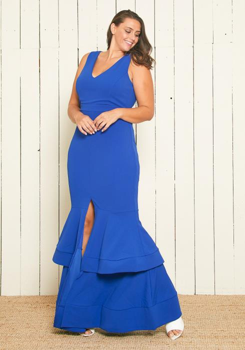 Asoph Plus Size Tiered Mermaid Gown