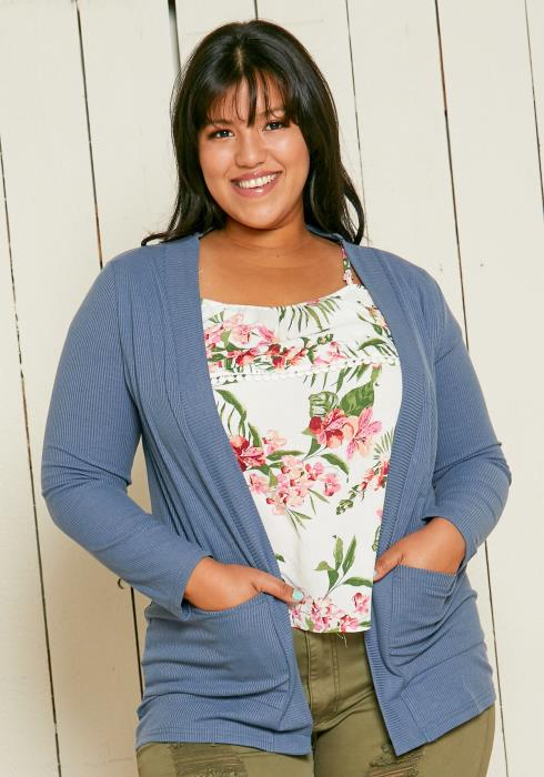 Asoph Plus Size Ribbed Open Front Cardigan