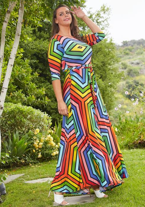 Asoph Plus Size Multi Color Geo Print Flare Maxi Dress