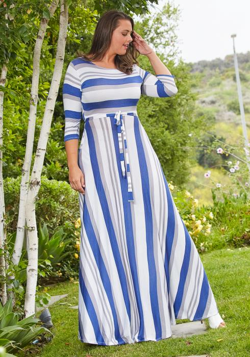 Asoph Plus Size Stripe Flare Maxi Dress