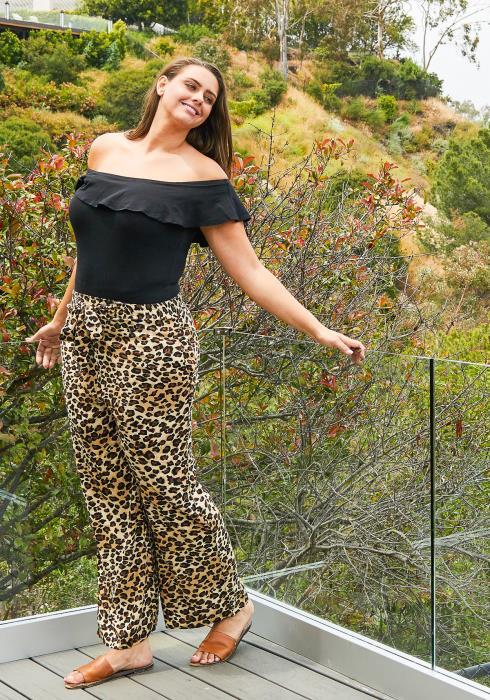 Asoph Plus Size Leopard Print Palazzo Pants