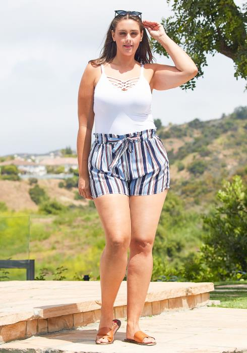 Asoph Plus Size Stripe High Waist Shorts
