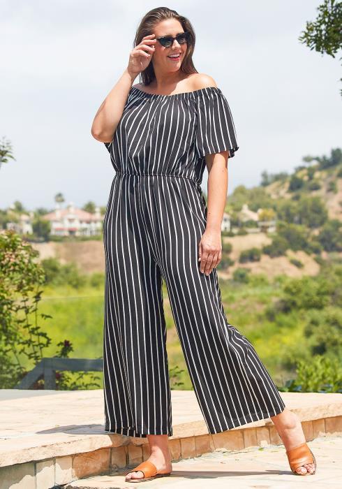 Asoph Plus Size Off Shoulder Stripe Jumpsuit