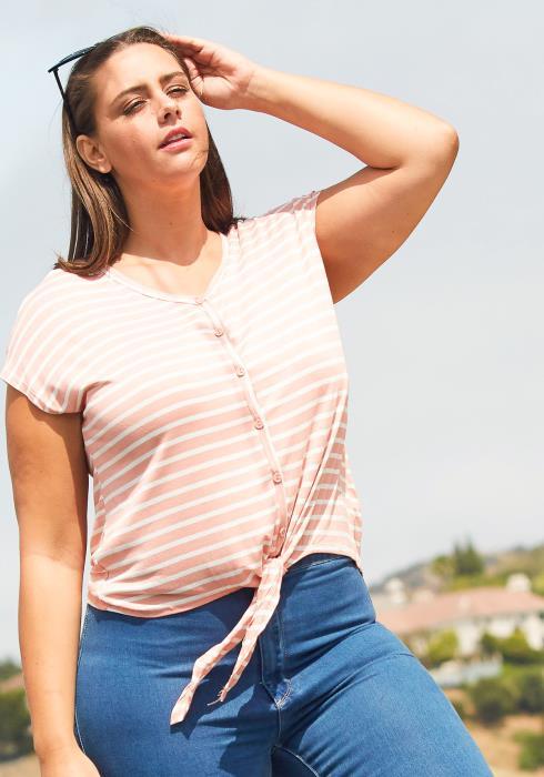 Asoph Plus Size Button Up Stripe Top