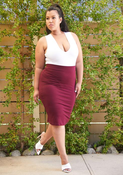 Asoph Plus Size Cotton Pencil Skirt