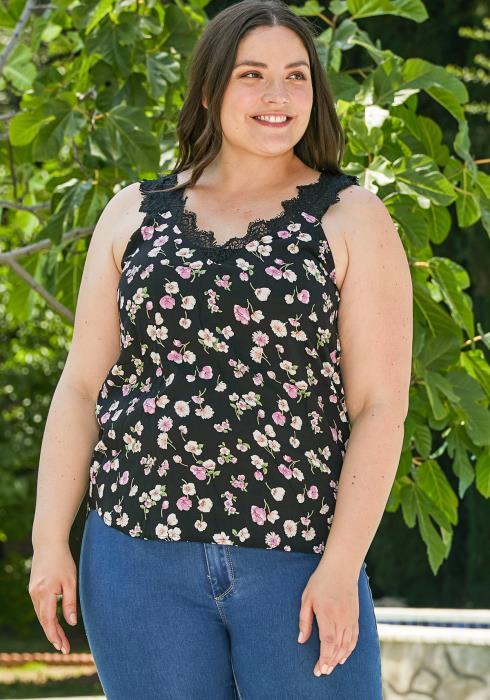 Asoph Plus Size Floral Cami Blouse