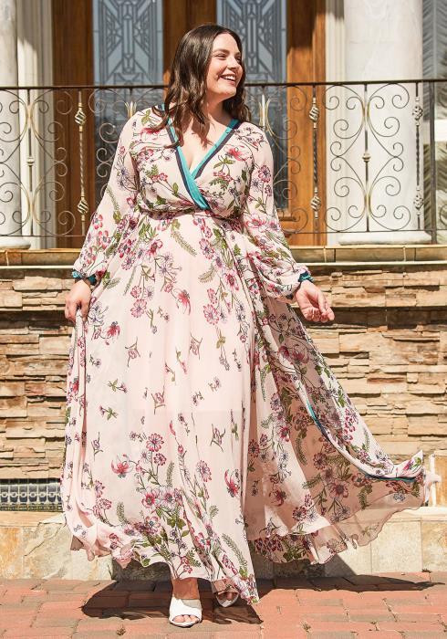 Asoph Plus Size Pink Floral Maxi Dress