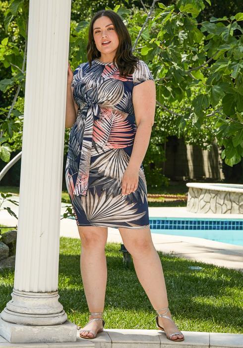 831573c16443 Asoph Plus Size Multi Color Leaf Print Bodycon Dress