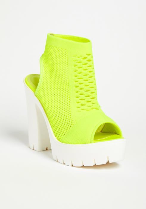 Neon Knit Bock Heel