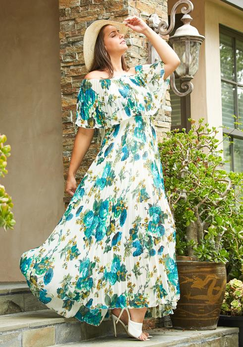 Asoph Plus Size Floral Print Pleated Maxi Dress