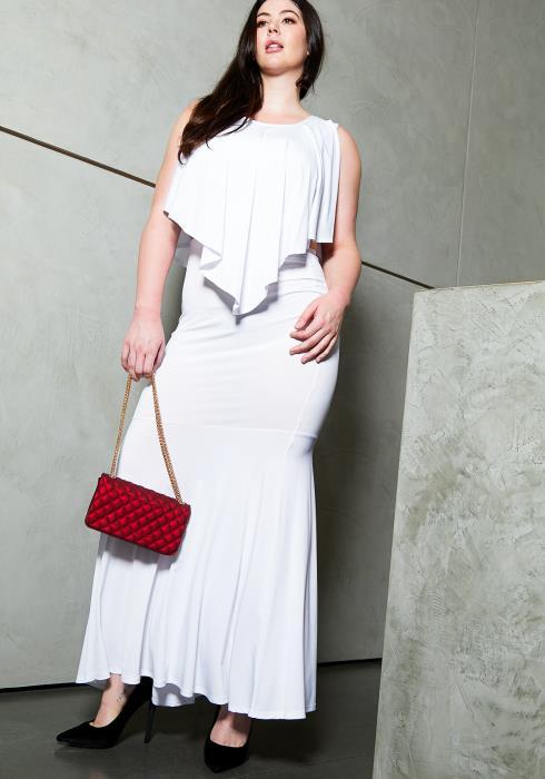 Asoph Plus Size Handkercheif Top & Skirt Set